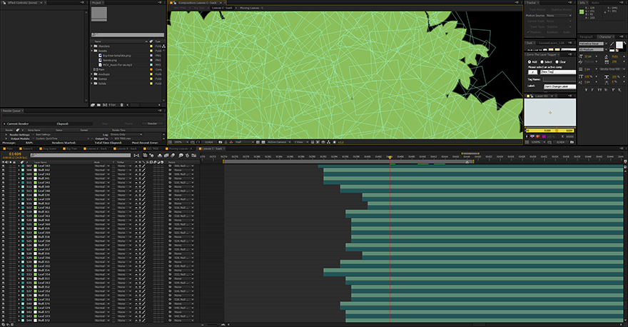 A small portion of the scene (like a 1/10 of view). There are thousands of layers (including the controllers).