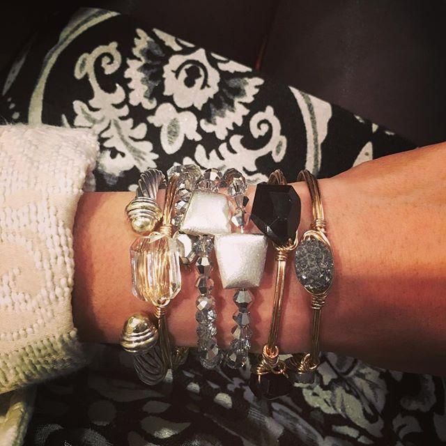 v❥day glitz || #ellaZjewels #handcrafted #diyjewelry #valentinesday #bangle #aliceandolivia #coilbracelet #wirewrapped #stack #gems #fashion #jewelry #accessories #bracelet  #wristwear