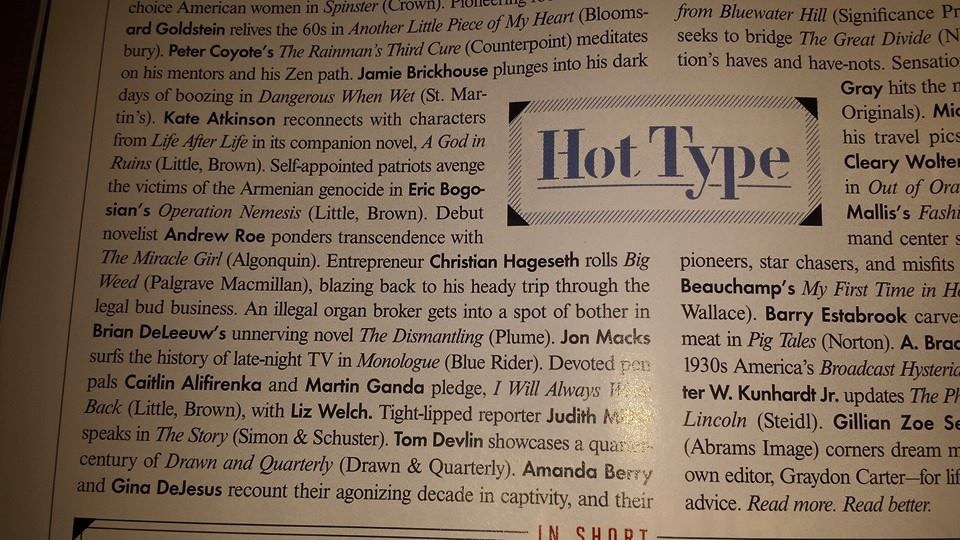 "Big Weed  gets a mention in the ""Hot Type"" column in  Vanity Fair."