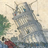 Leaning Tower of Pisa. Illustration by John O'Brien for children's book Blockhead: The Life of Fibonacci