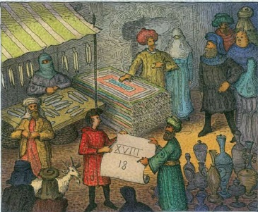 Algerian market scene, illustrated by John O'Brien, from children's book Blockhead: The Life of Fibonacci