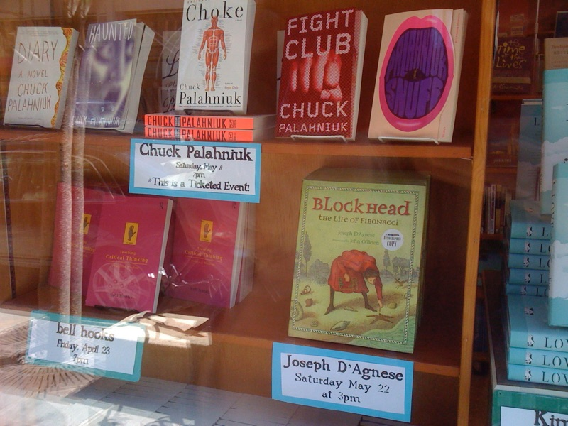 Blockhead: The Life of Fibonacci by Joseph D'Agnese, displayed in store window of Malaprop's Bookstore, Asheville, NC