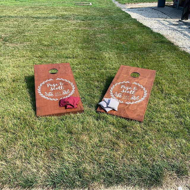 Personalized corn hole boards make a great addition to any wedding! Could be a gift as well as an activity for guests to do instead of dancing. #wedding #cornhole #weddinggames #weddinggift #gift #personalized