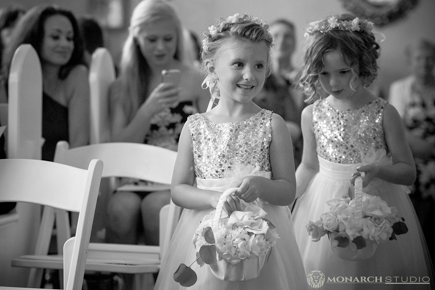 Flower Girl walking down the aisle Amore Wedding Chapel