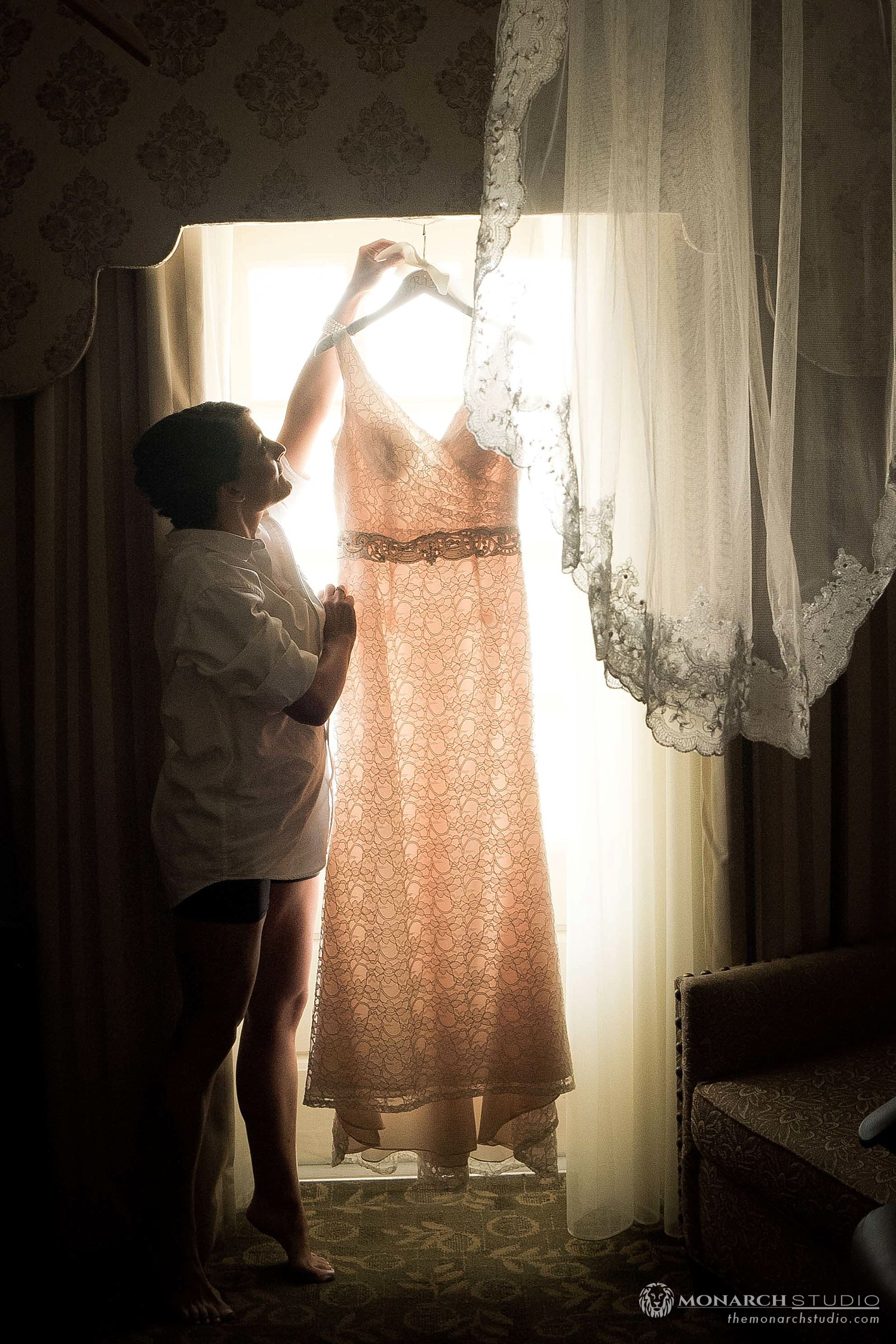 Bride getting ready Casa Monica Hotel in Saint Augustine Florida