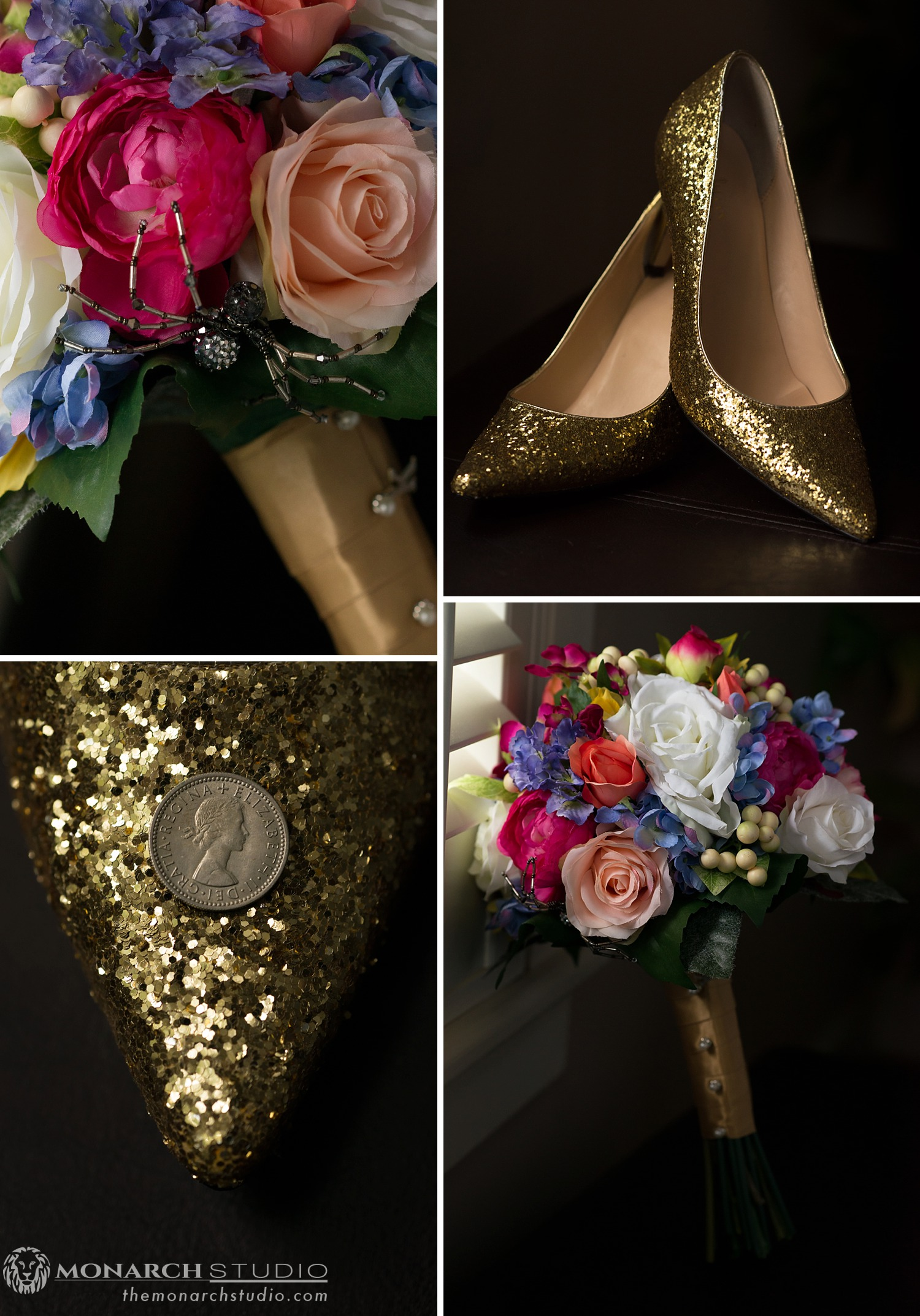 Wedding Details of flowers and shoes in St. Augustine Florida