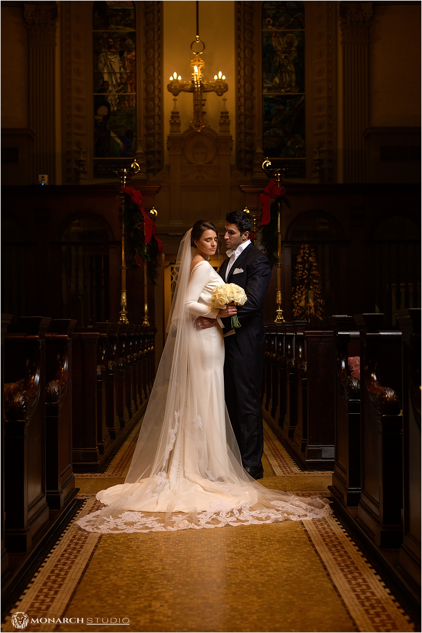 Eva and Peter's beautiful wedding portrait in the Historic Memorial Presbyterian Church.