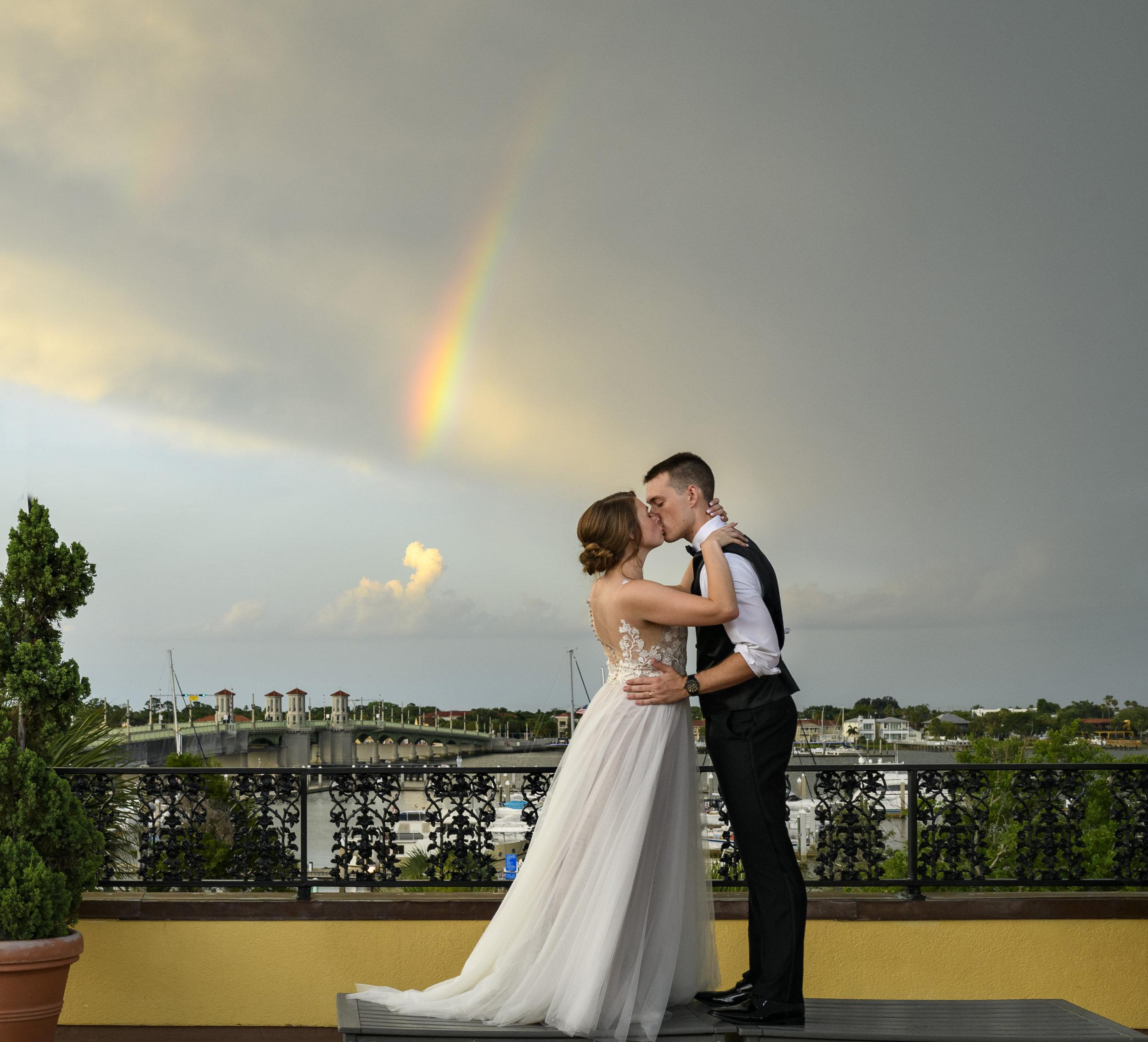 .A glimpse of a rainbow over the Matanzas Bay   in downtown Saint Augustine