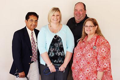 (From left) Dr. Kamran Shahzada, Internal Medicine; Angela Ziegler, Advanced Practice Registered Nurse; Dr. Eric Thomson, Family Medicine; and Dr. Rhonda Green, Family Medicine.