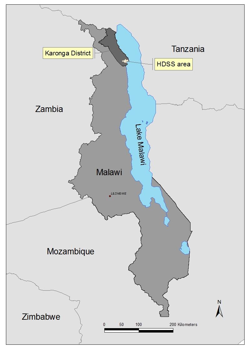 map of Malawi showing Karonga Health and Demographic Surveillance site
