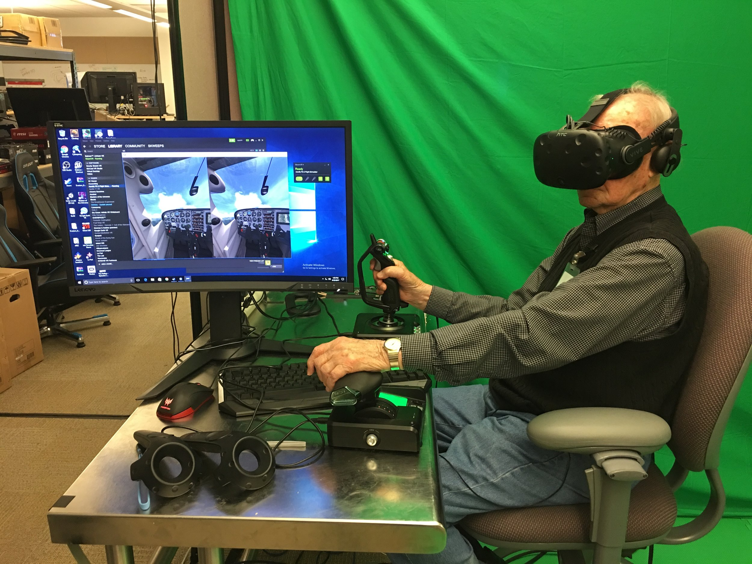Lyle showing us how it's done as he flies around inside the virtual world created by AeroFly FS2.