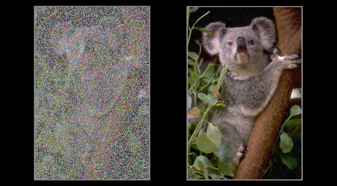 Nvidia demo uses AI to remove noise from an image