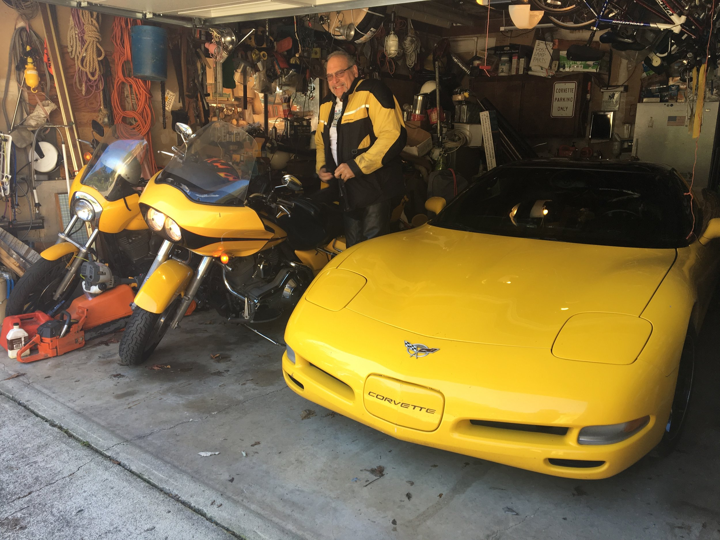 Bob and his collection of yellow epicness just before taking me on a ride all around Sonoma County