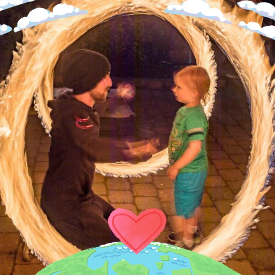Fire Spinning around a little boy at a regular First Friday Fire gig I regularly host in Grants Pass, Oregon