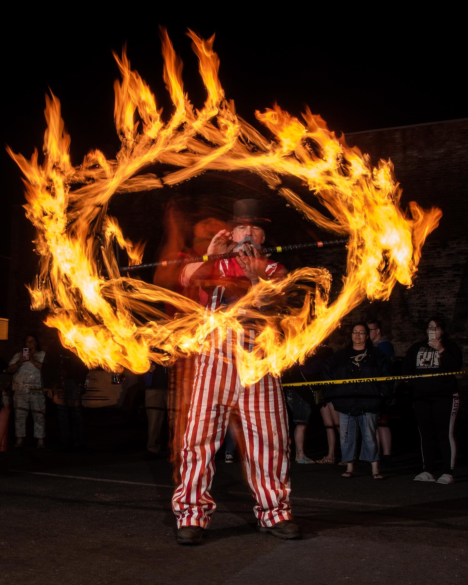 One of our regular performers, Michael Skaggs, always bring the spirit with his outfits, and sometimes drums with actual fire shooting out of them!