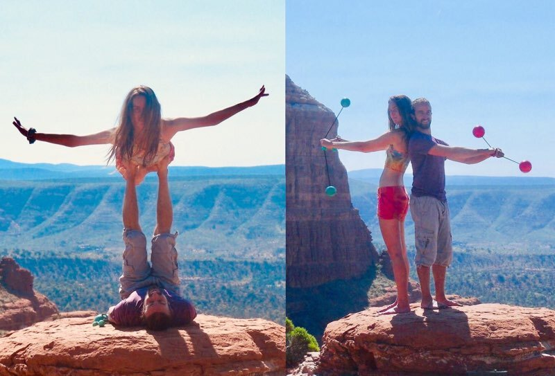 Showing off some Acro Yoga and Flow Art (Partner Poi) skills in Sedona, Arizona.