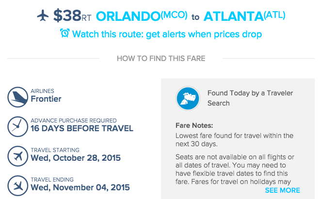 Sample Airfarewatchdog Deal (MCO-ATL)