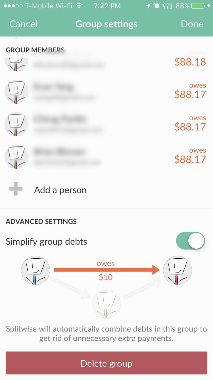 Simplify Group Debts