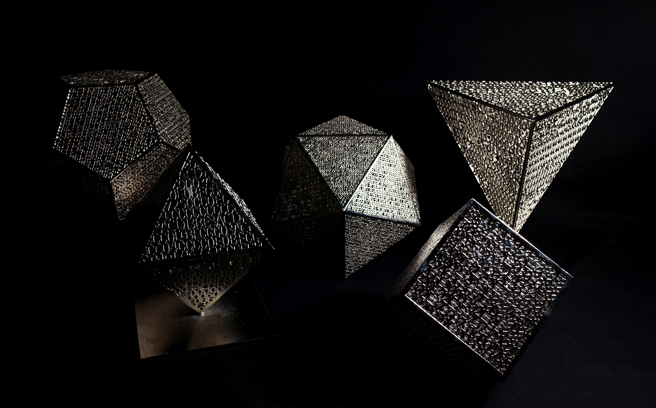 Platonic Solids, nickel plated 3D prints, various sizes
