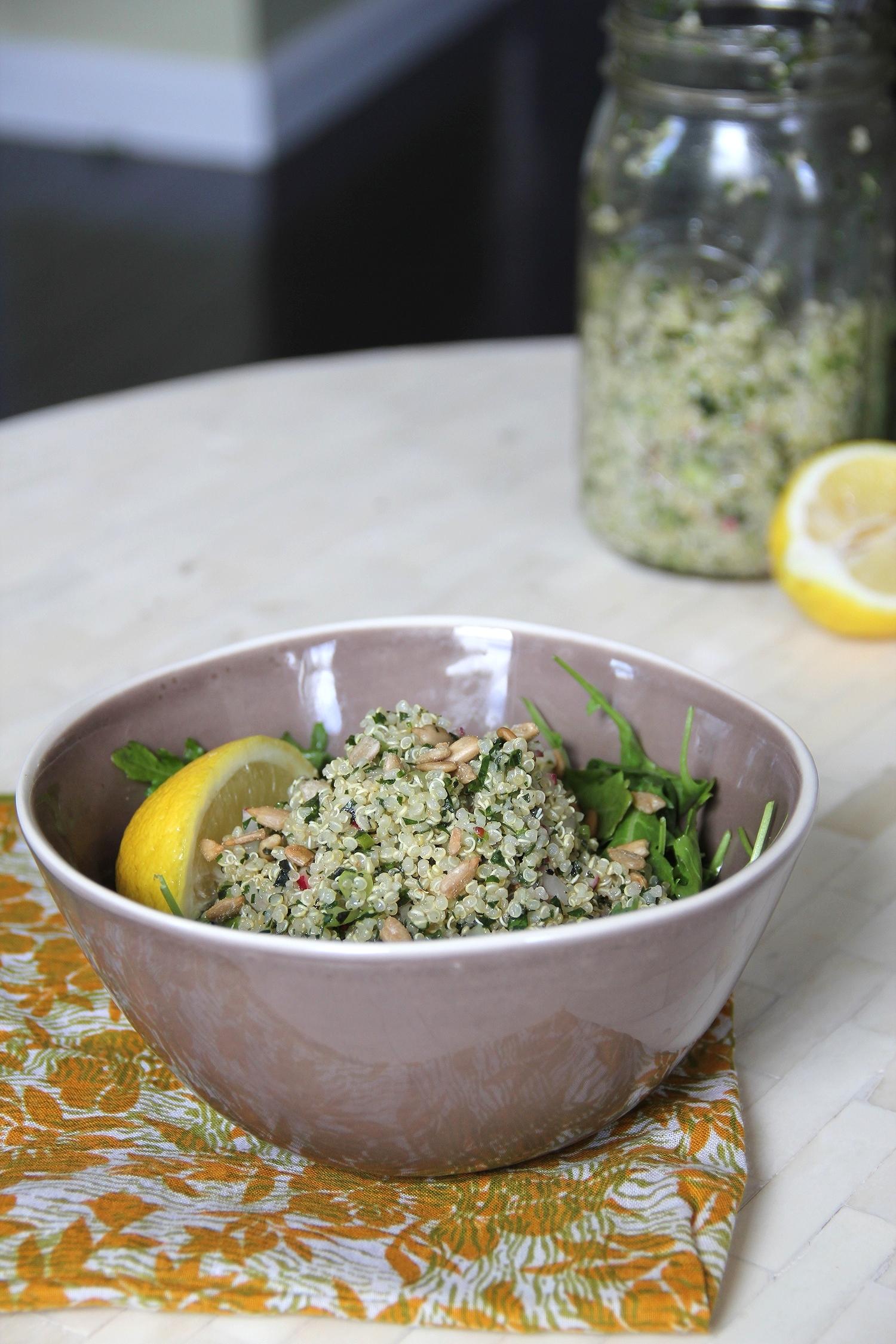 Spring Quinoa Tabouli and Arugula Salad