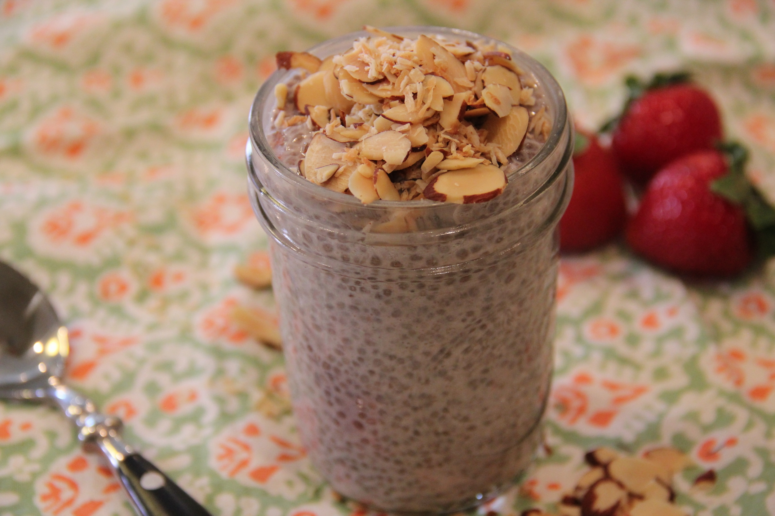 Strawberry Chia Seed Pudding with Toasted Coconut and Almonds