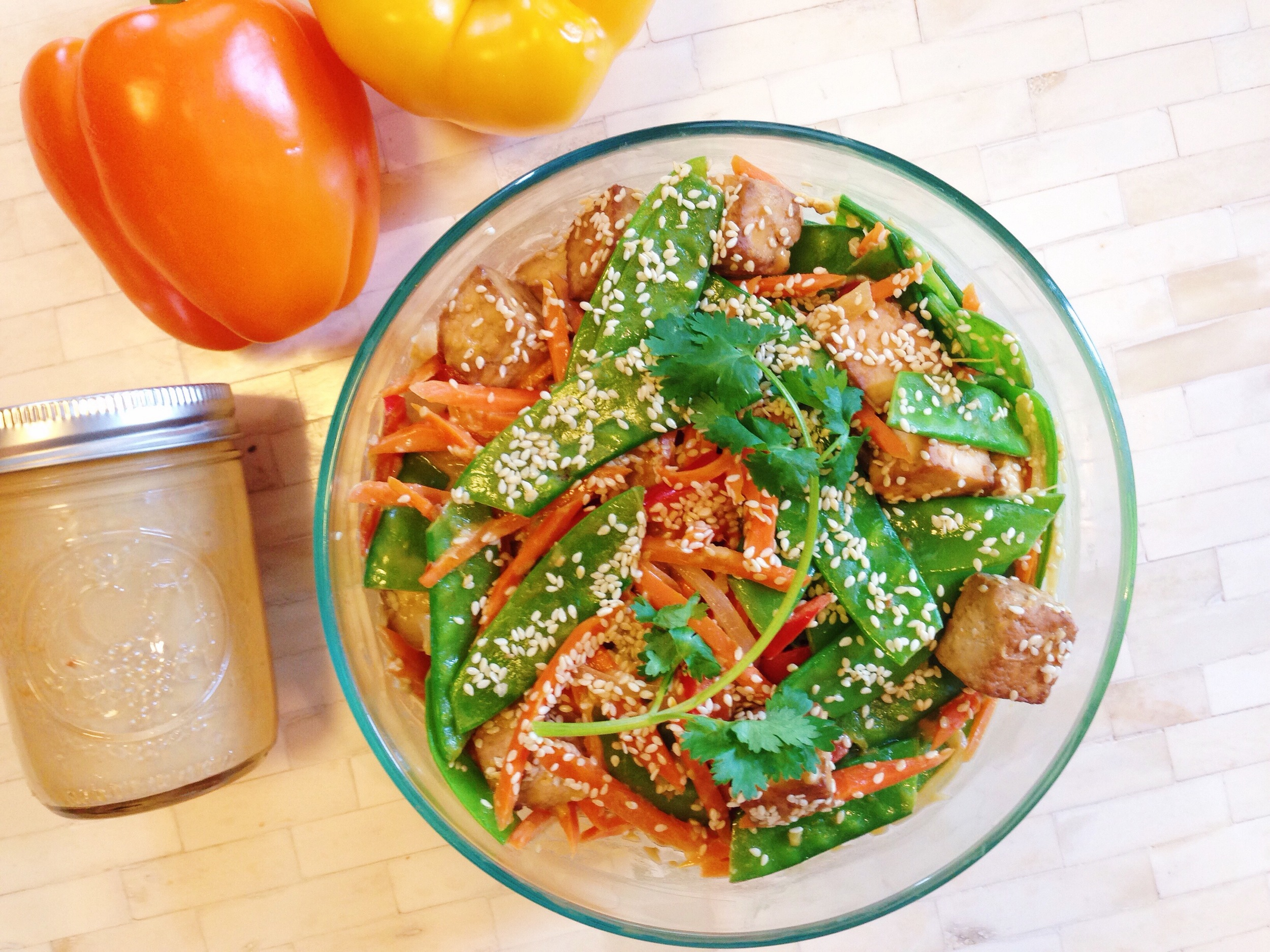 Tofu and Vegetable Stir-Fry with Peanut Ginger Sauce