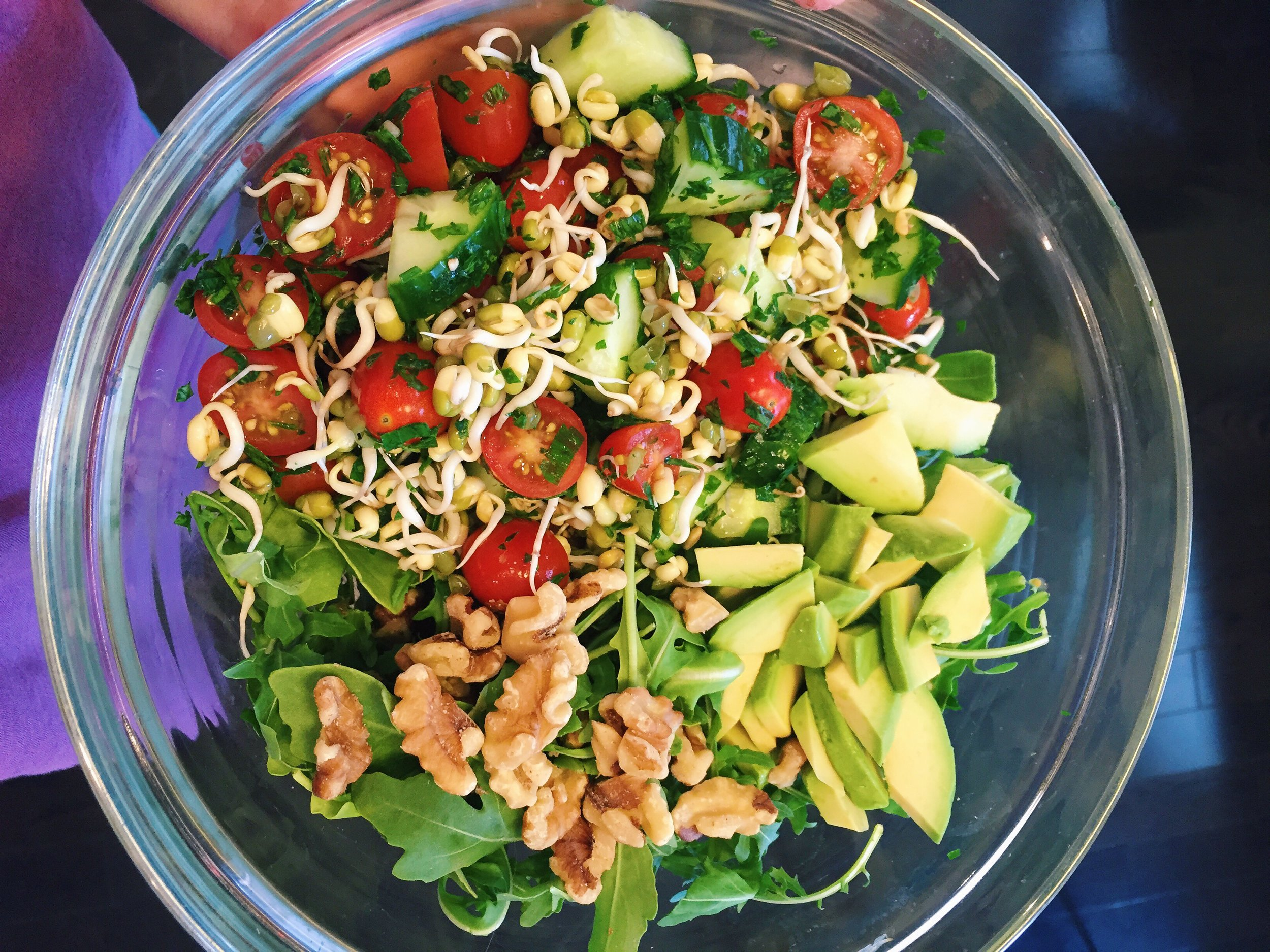 My Mung Bean Sprout Summer Salad tossed with some arugula, avocado and walnuts for a light and refreshing August lunch.