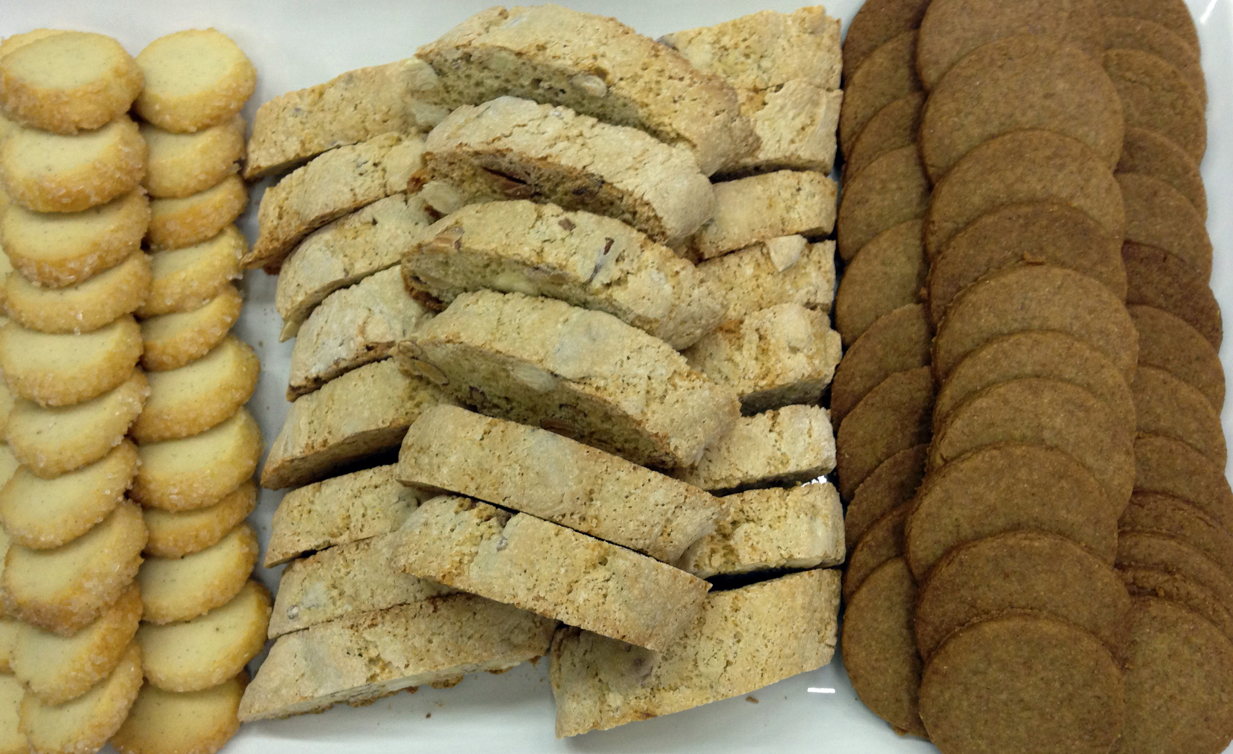 Left to right: diamond sable cookies, cantuccini, and graham crackers