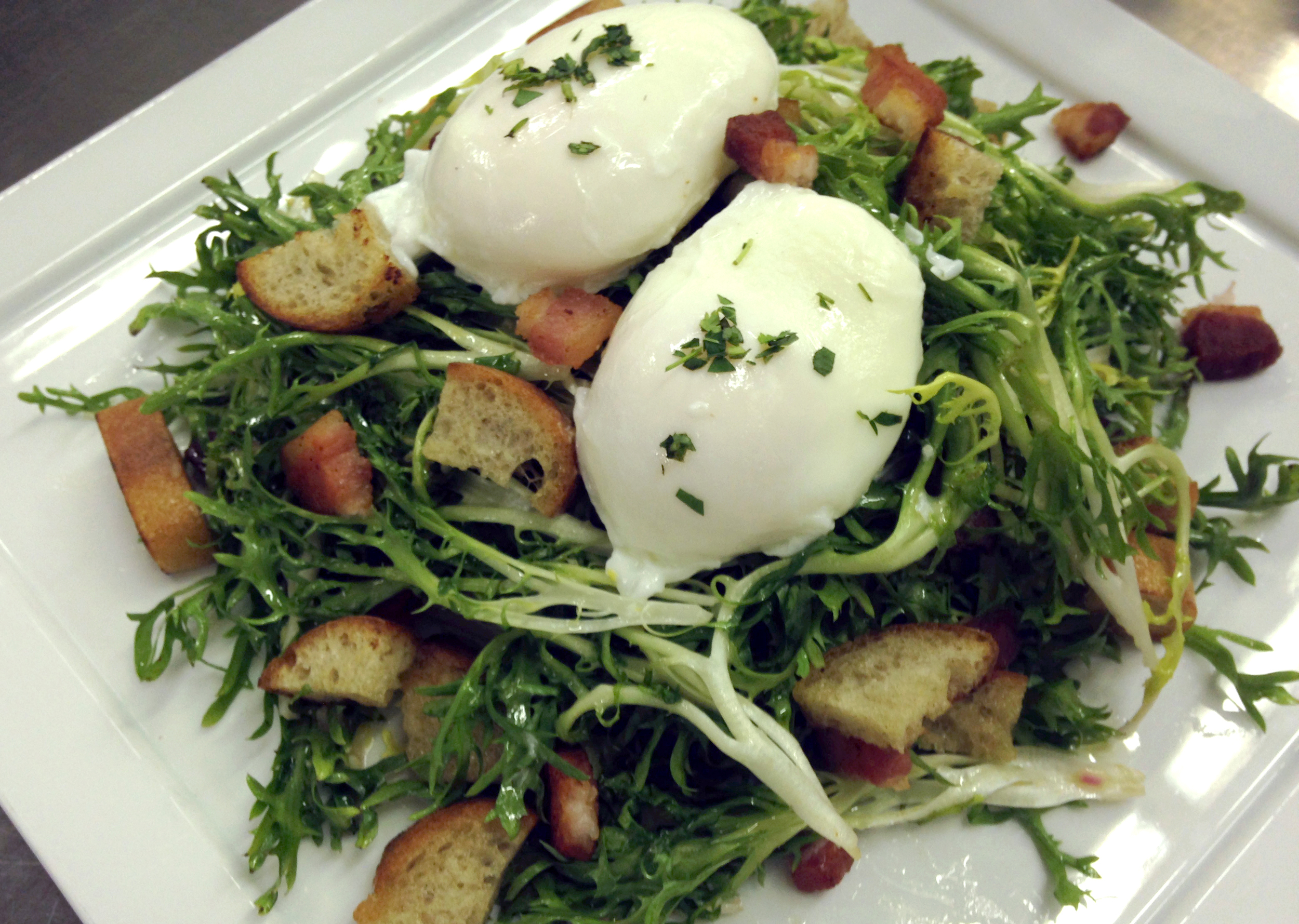 Salad Lyonaise with my teammate Vanessa's perfect poached eggs