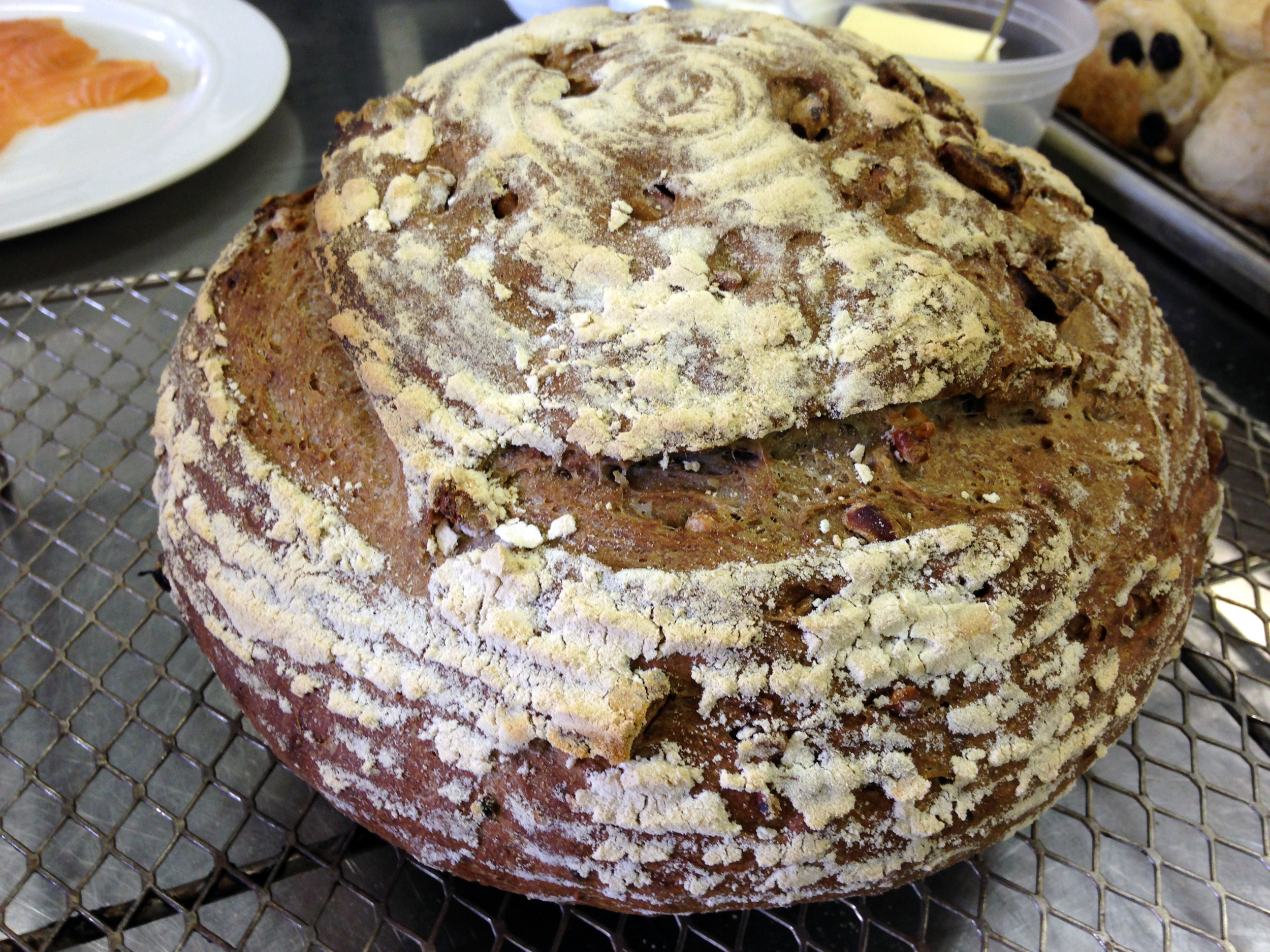 The wheat and walnut boule had a bit of rye flour, ground pepper, and coriander and was leavened with a combination of natural starter and commercial yeast.