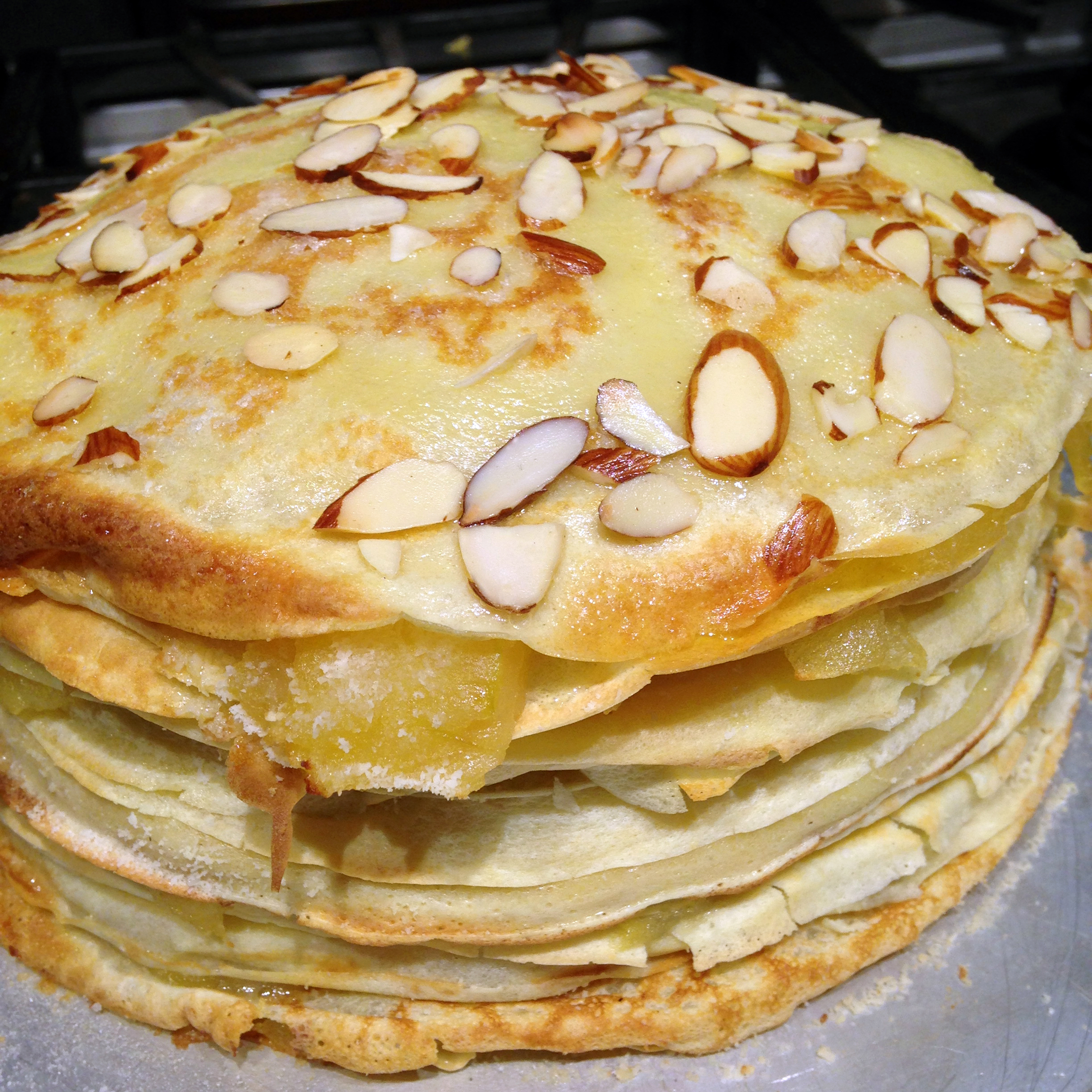 Crepes, the only flat thing we made all day, were layered with cooked apples and almonds and stacked into a Gateaux a la Normande.