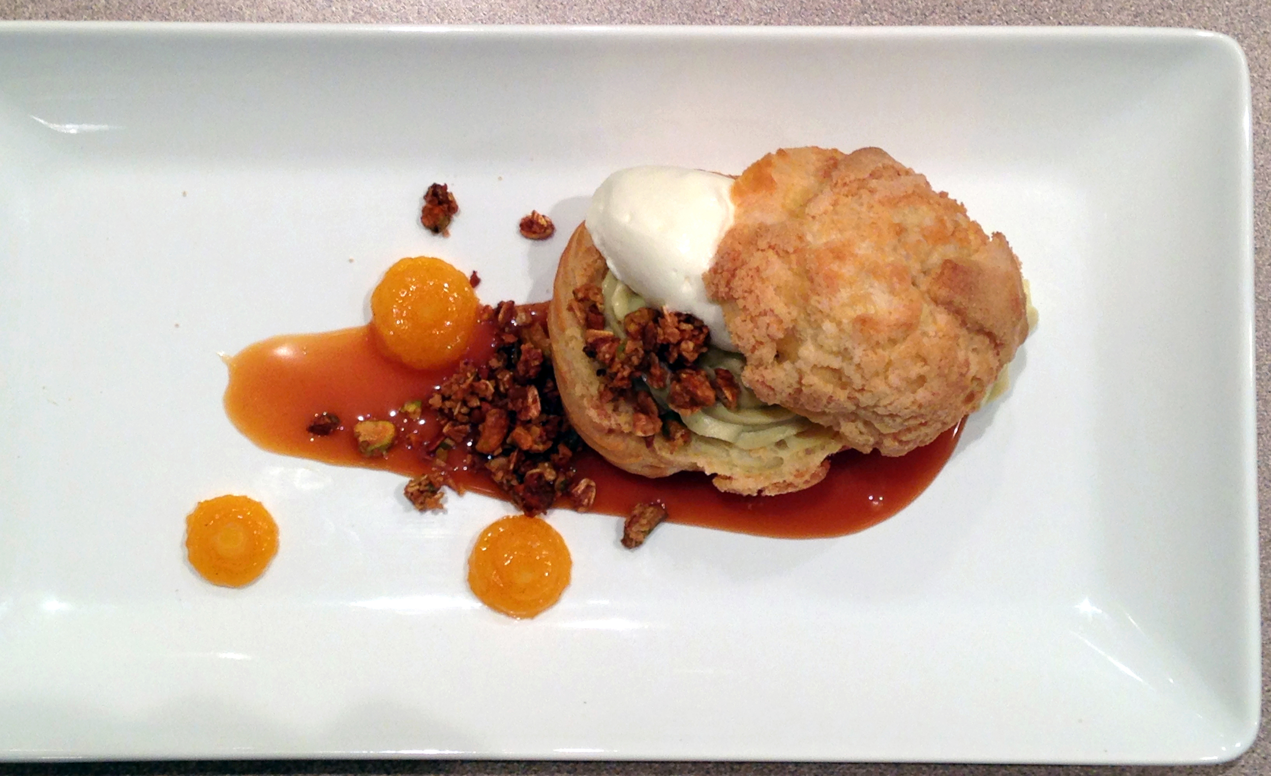 Lauren brought the components to pistachio apricot profiterols and everyone got to try their hand at artful plating