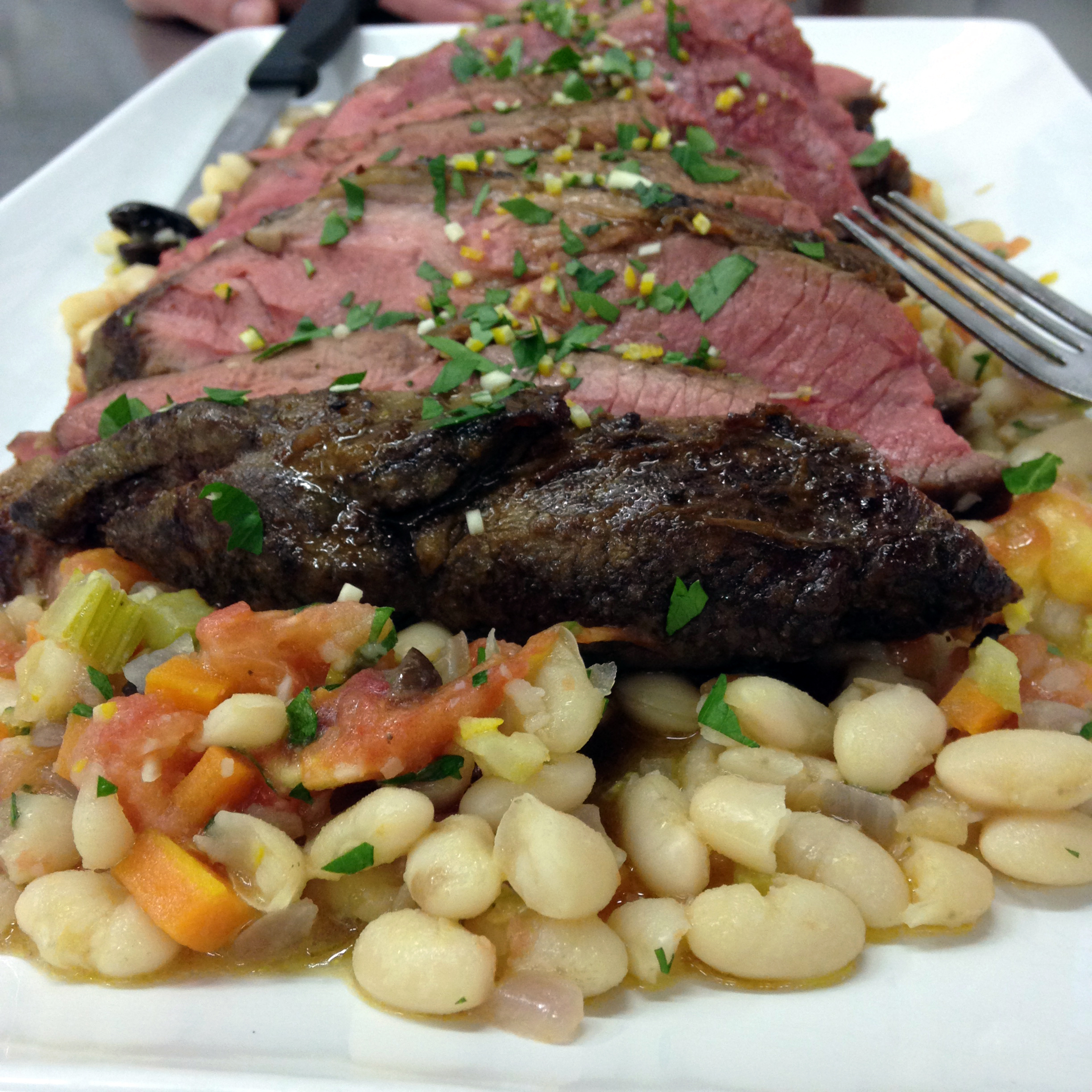 Provençal roast lamb with white bean ragout