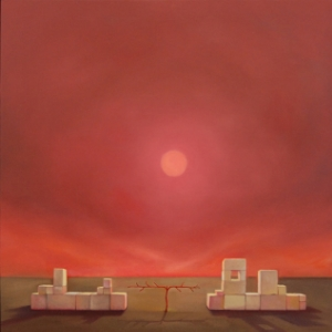 Laura Lasworth:  Psalm 80: Allegory of the Western Wall,  2010, oil on wood  panel, 12 inches square; at Lora Schlesinger.