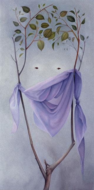 """Laura Lasworth, Tarwater's Seed-Like Eyes, 1997 oil on panel, 19½"""" x 11½"""", at Hunsaker/Schlesinger Gallery, Santa Monica"""