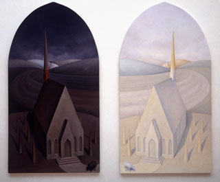 Plate 11. The Light and Dark Chruch, 1995. Oil on panels. 46x29 inches (each panel). Collection of Darrel and Marhsha Anderson