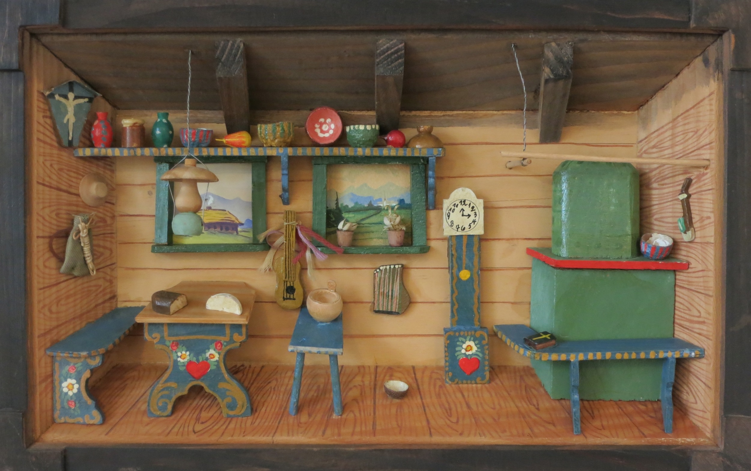 "The Little Swedish Kitchen (diorama, circa 1940's) 10""h x 15.5""w x 2""d"