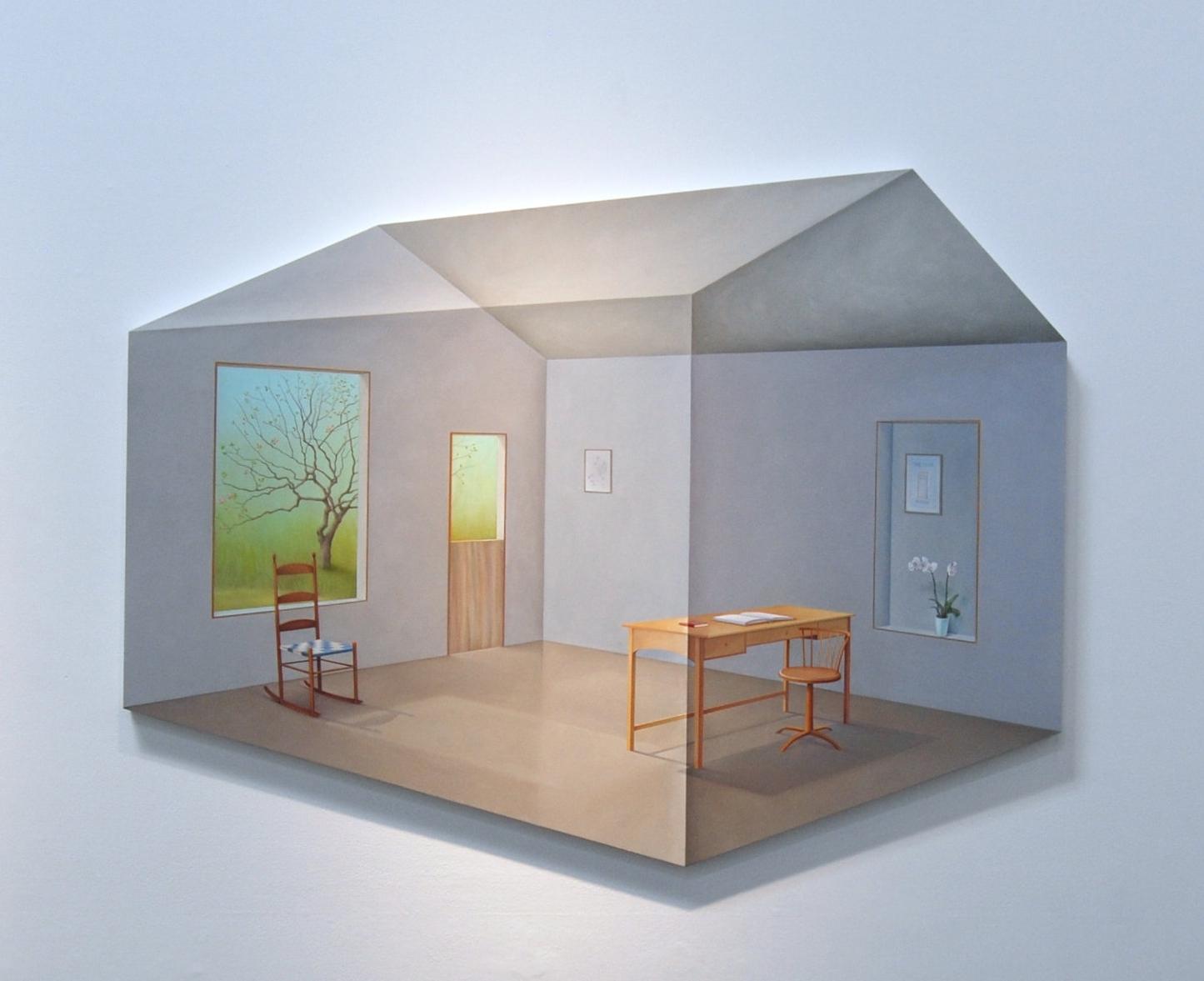 """Safehouse: Refuge for the Handmaiden 2017 (48""""x60"""") oil on wood panel."""