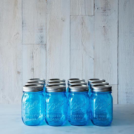 Pretty Blue Ball Mason Jars