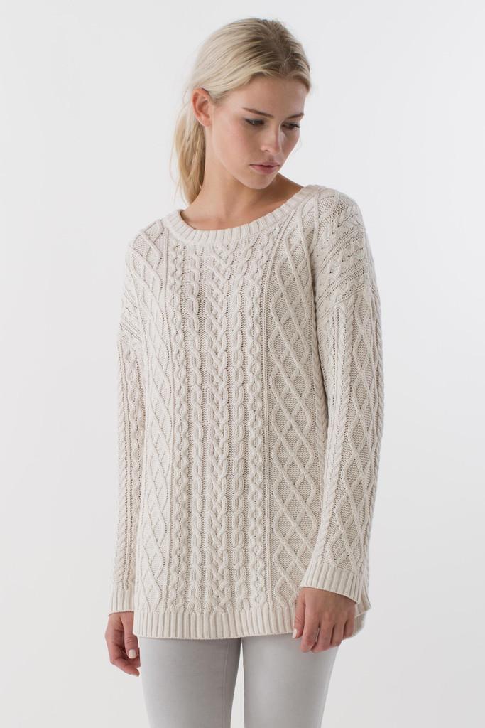 a Happy creamy white sweater
