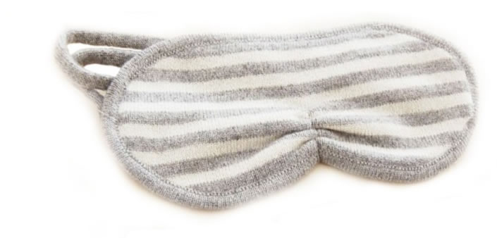 STRIPED CASHMERE EYE MASK FROM QUINN