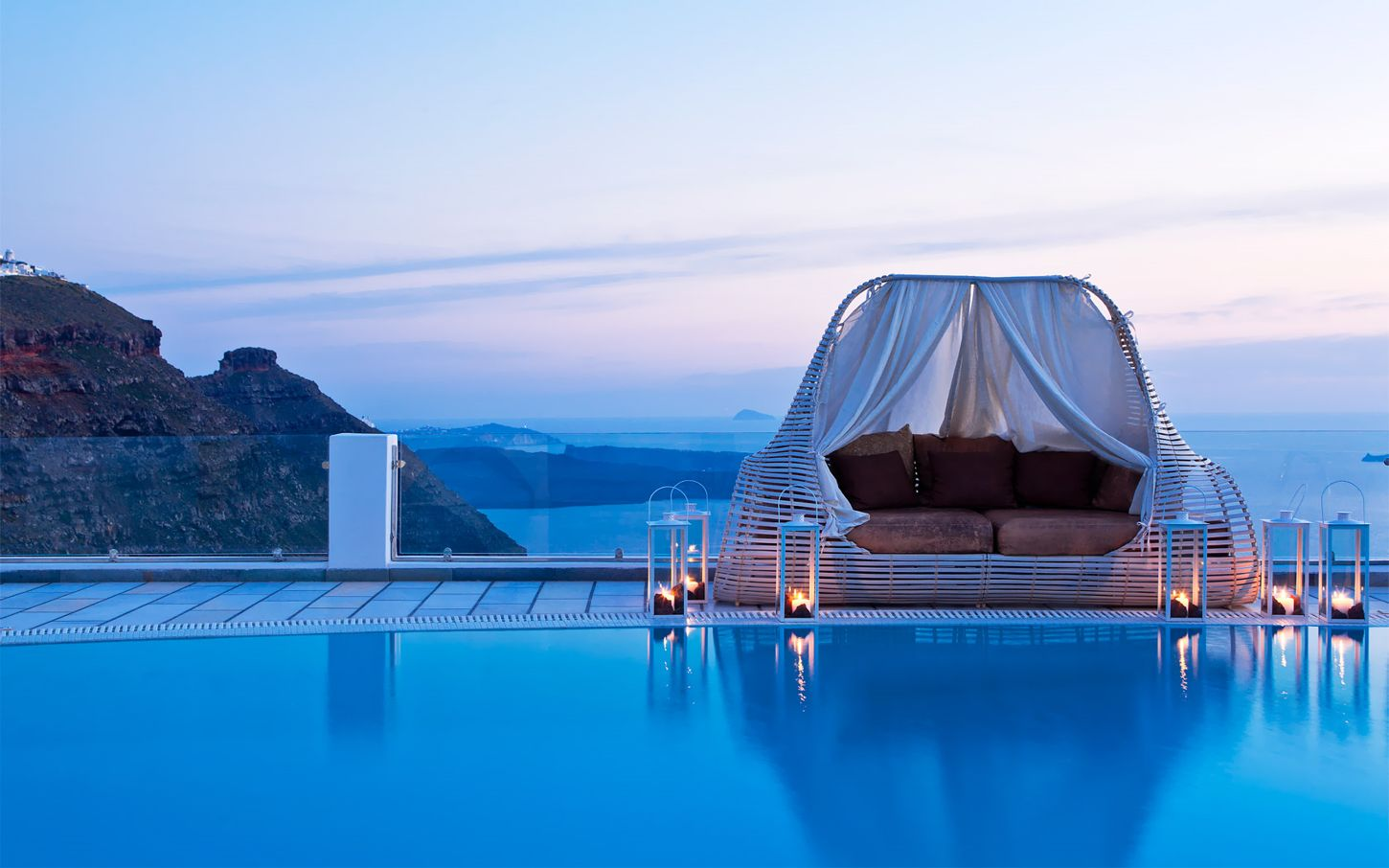 Daybed cabana by the pool