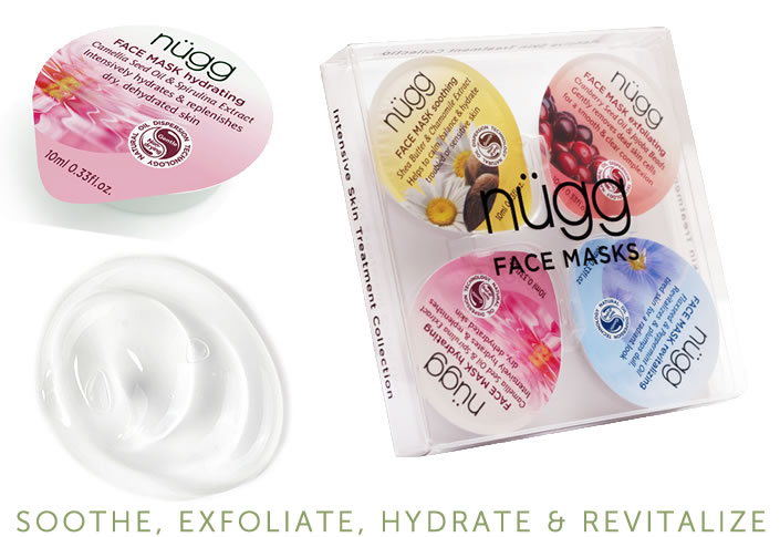 a travel Nugg 4-Pack for beautiful skin in just 5-minutes - Soothe, Exfoliate, Hydrate & Revitalize. A travel must have