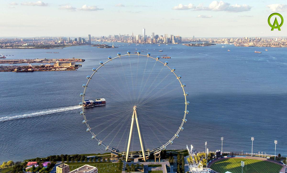 The New york Wheel, located on Staten island, looking towards Manhattan and overlooking new york harbor