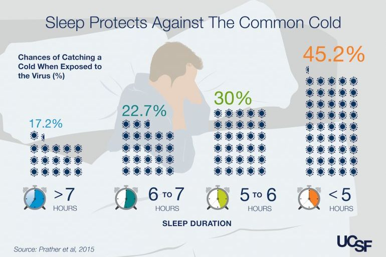 Study-shows-sleep-prevents-colds  source : ucsf-sleep-INFO-GRAPHIC 2015.  UC San Francisco (UCSF) ¹   Those who averaged five to six hours of sleep a night were four times more likely to catch a cold than those who slept an average of seven hours.