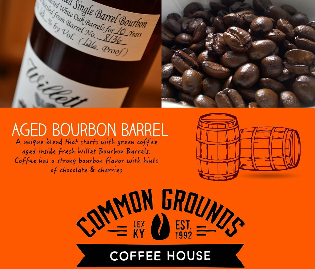 lexington, Kentucky common grounds single barrel bourbon infused coffee