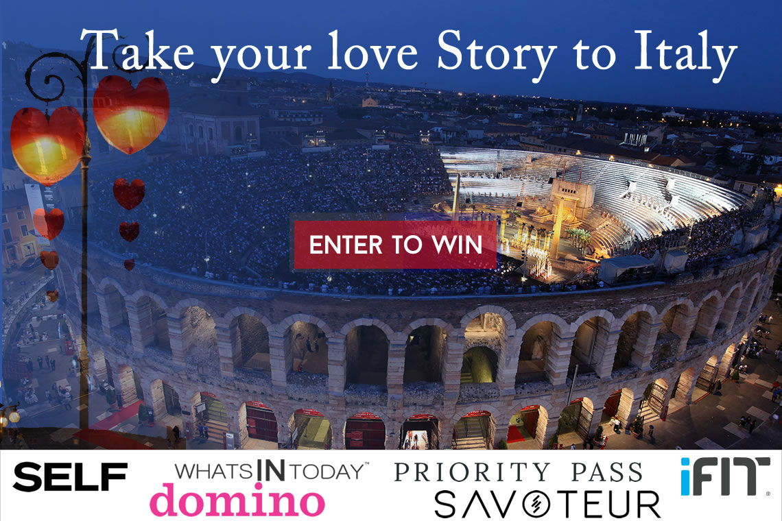 enter for a chance to win a ROMANTIC getaway to verona, Italy , the city of romeo and juliet