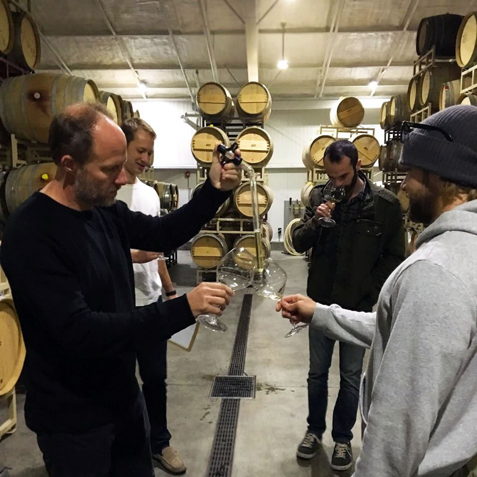 it's wine tasting time at senses wines for Chris max and miles - founders of Senses' estate vineyards