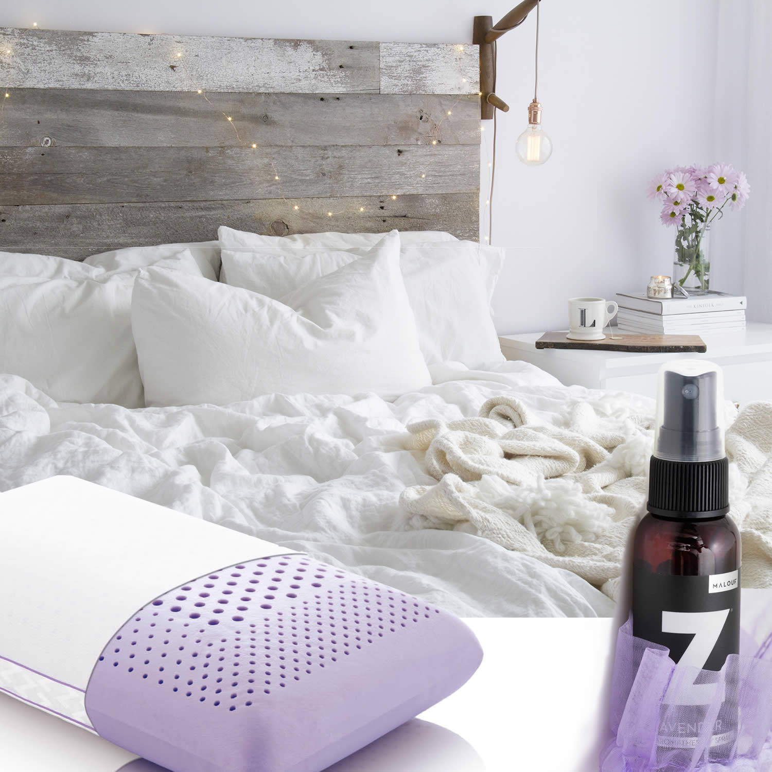 promote sleep relaxation & PERSONALIZE your pillow scent with lavender, PEPPERMINT or chamomile to enhance your sleep environment
