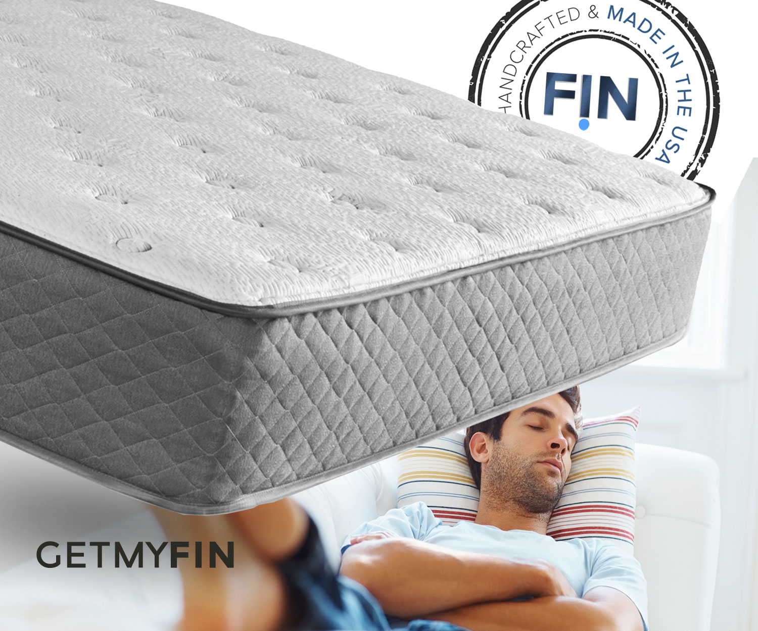 "Each fin mattress is custom made to order and shipped within days free by UPS in a box 47 x 15 inches. Upon opening fin always transforms to it's ORIGINAL full shape and height. unlike A LOT of other mattresses a fin mattress is made only with ""the good stuff inside"""